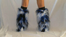 UV BLACK WHITE BLUE FLUFFY LEGWARMERS FURRY BOOT COVERS RAVE