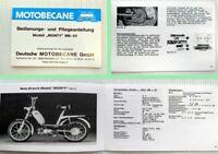 Motobecane Monty MB-3V Mopeds Bedienungsanleitung Plegeanleitung