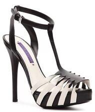 NWB $725 Ralph Lauren JENELLE black/white Leather Platform Sandals Shoes 8.5/39