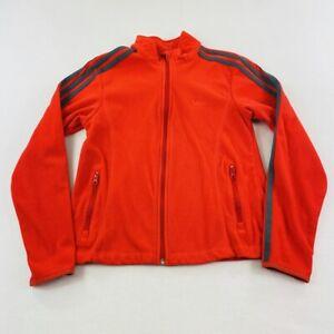 Adidas Sweater Womens Small Orange Gray Stripes Logo Full Zip Cotton Ladies