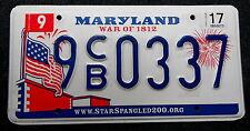"""Nummernschild USA aus Maryland """"WAR OF 1812"""" mit Flagge/Feuerwerk etc. CB. 13387"""