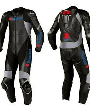Suzuki GSXR Biker Racer Suit Cowhide Leather Riding Protective Motorcycle Sports