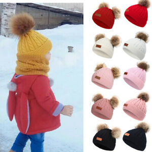 Toddler Kids Knit Pom Bobble Beanie Hat Baby Boys Girls Warm Wooly Caps Winter