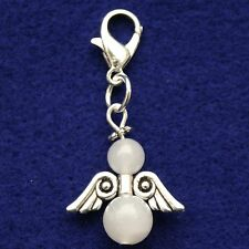 Guardian Angel Clip On Charm With White Jade Beads LB255