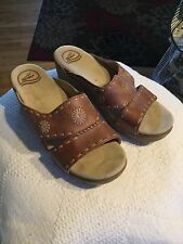 dansko brown leather open toe heelwomans size 41 shoe