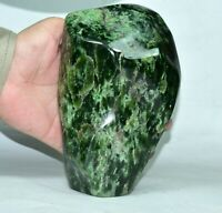 1849 Gram Beautiful Self  Standing Deep Green Nephrite Jade Tumbled Stone