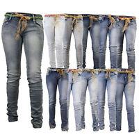 Ladies Jeans Womens Pants Denim Skinny Slim Fit Trousers Ripped BELT Stretch New