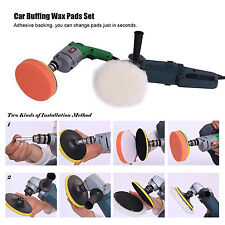 "7pcs 3"" Car Compound Drill Polishing Polish Buffer Buffing Cleaning Wax Pads set"