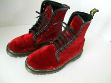 VINTAGE DOC DR. MARTENS RED ZE YOU VELVET BOOTS MADE IN ENGLAND size UK 3  US 5