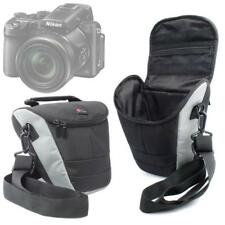 Portable Black & Silver Carry Case w/ Shoulder Strap for Nikon DL 24-500 Camera