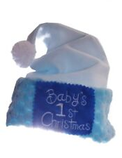 Infant Baby Boys My First 1st Christmas Santa Claus Party HAT Light Blue NEW NWT