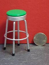 Dollhouse Miniature 1950's Silver & Green Bar Stool 1:12 one inch scale E27