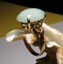 Vintage Jade Jadeite Ring 14 Karat Yellow Gold SZ 6 Cabochon 13x18mm 5 Grams TW