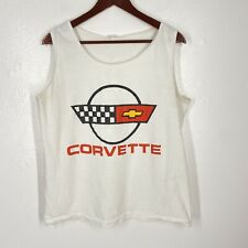 VTG Chevrolet Chevy Corvette White Tank Top Shirt Sz M/L