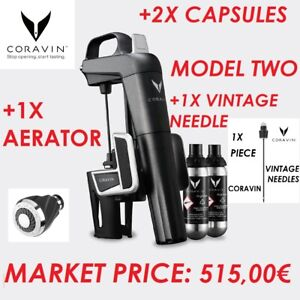 KIT CORAVIN MODEL TWO + AERATOR + 2X CAPSULES ARGON WINE + 1X VINTAGE AGO NEEDLE
