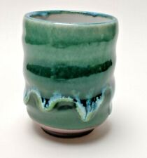 Large Green Melting Effect Japanese Yunomi Tea Cup (for loose tea) HANDMADE