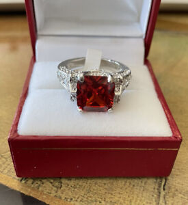 925 Sterling Silver Ring with Simulated Ruby and Diamonds Size 7 NEW