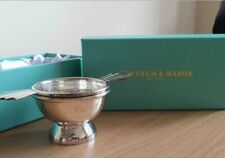 FORTNUM AND MASON SILVER PLATED ART DECO DOUBLE- HANDLED TEA STRAINER