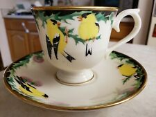 """Lenox Footed Cup & Saucer Vintage Issued 1993 """"Goldfinch""""  Made in USA"""