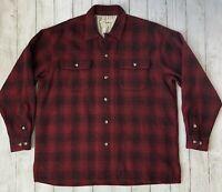 EDDIE BAUER Men's Sz XL Wool Blend Shirt Jacket Red Plaid Workwear ~ READ