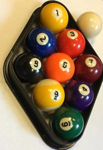 "UK 9 BALL - 2"" POOL BALL SET + diamond , balls 1-9 +1 7/8""  cue ball in  box"