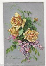 C. Klein, Flowers, Yellow Roses, Birn Bros. 2103 Embossed Postcard, B484