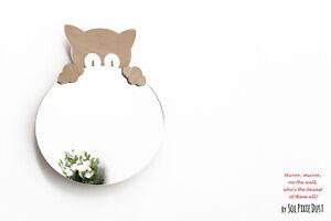 Safety Mirror Kitten Oval with LED light - Wall Decor Mirror- Nursery Kid Mirror