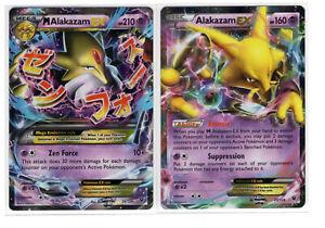 Pokemon Cards XY Fates Collide Alakazam EX 25/124 & Mega Alakazam EX 26/124 (NM)
