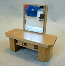 Vintage Dolls House Furniture - Dol-Toi Wooden Dressing Table With Mirror