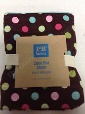 Pottery Barn Teen Coco Dot Bed Dorm Bedroom Pillow Sham Euro Square Chocolate
