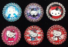 HELLO KITTY 27mm GLASS DOME FLATBACK CABOCHON RHINESTONE EMBELLISHMENTS 6 pcs B