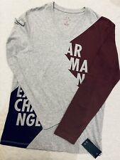 NWT Armani Exchange Newsprint Logo V-Neck Long Sleeves T Shirt For Men Size S