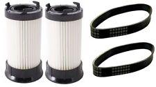 2 Eureka DCF4 DCF18 Washable Vacuum Filter + 2 U Belts 61120D 62132 63073 61770