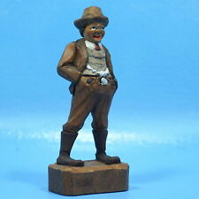 Antique Swiss Black Forest Wood Carved RICH FARMER MAN Hand-Painted Brienz c1920