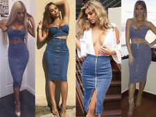 Women 2 Piece Set Evening Party Midy Dress Bodycon Denim Stretchy Skirt Crop Top