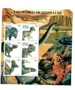 VINTAGE CLASSICS - MALDIVES 9740 - Dinosaurs - Sheet of 6 Stamps - MNH