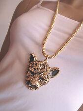 Damen Hals Kette Bettelkette lang Modekette Gold Strass Leopard Tiger Bling l817