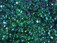 Sequins Cup 6mm Peacock Green AB 20g Dance Gym Costume Craft POSTAGE