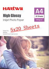 Hartwii 100Sheets A4 ( 210x 297mm) 180 Gsm High Glossy Photo Paper Inkjet Paper