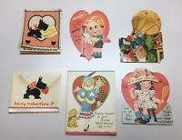 Vintage Lot Of 6 Valentines Cards, Some Mechanical, Great Condition