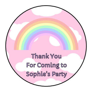 Personalised Birthday Pink Rainbow Clouds Thank You Party Stickers Sweet Cones