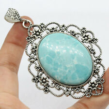 """Handmade Gemstone Pendant of 3.5"""" Ethnic Dominican Blue Agate 925 Silver Plated"""