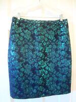 J Crew Black Green Jacquard Damask Metallic Straight Pencil Skirt - NEW - Size 8