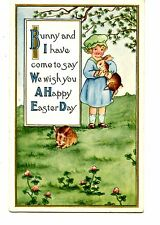 Cute Girl w/ Bunny Rabbits-Easter Holiday Greeting Vintage Whitney Postcard