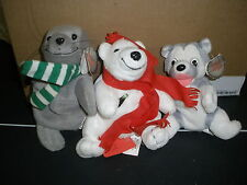 Menge 3 Coca Cola Plüsch Bean Bags Siegel, Husky Hund, Eisbär