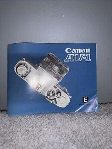 Original Canon AV-1 English Full Instruction Manual VGC