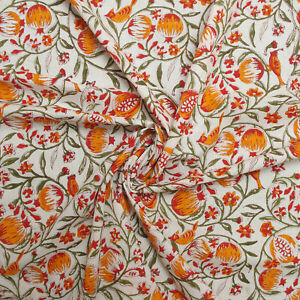 Hand Block Print Tropical Birds 100%Cotton Women Dress Material Craft Fabric