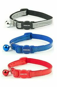 Ancol Cat Collar Reflective Gloss, Bell & Safety Release Red Blue Silver 20-30cm