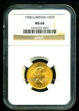 GR. BRITAIN 1958 GOLD COIN QE II SOVEREIGN * NGC CERTIFIED GENUINE MS 64 * RICH