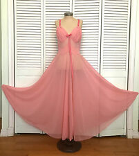 VINTAGE SCHIAPARELLI PINK CHIFFON NIGHTGOWN PLEATED RUCHED 38 LARGE SWEEP SHEER